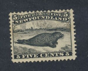 Newfoundland-M-Stamp-26-5c-Black-Harp-Seal-F-VF-MNG-Sm-Thin-Guide-Value-350-00