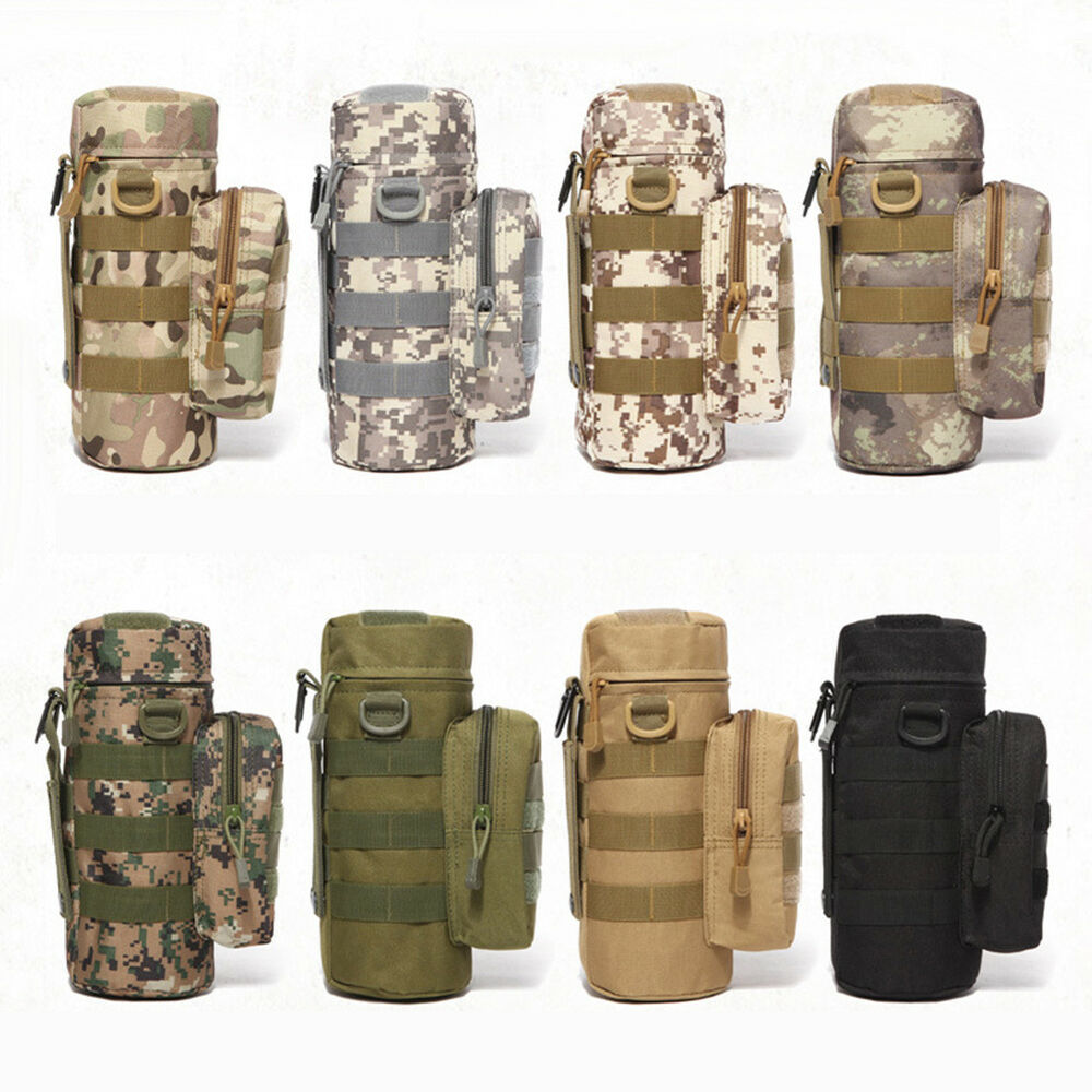 EP_ Outdoor Tactical Military Molle System Camo Water Bottle Bag Kettle Pouch He Hunting