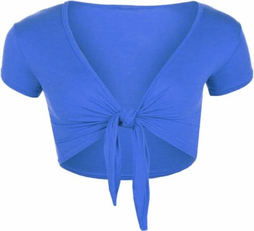 New Ladies Cap Short Sleeve Tie Up Front Cropped Bolero Shrug Cardigan Top 8-14