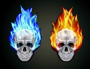 16cm red blue set of 2 burning skull stickers car window fire image is loading 16cm red blue set of 2 burning skull voltagebd Images