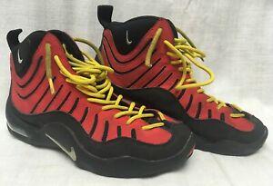linda Tener cuidado de alta calidad Nike Air Bakin Black Red Yellow Tim Hardaway Basketball Shoes ...