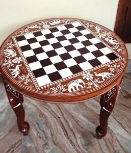 Wooden-Chess-Board-Inlaid-Carved-Work-Coffee-Round-Table-Foldable-Vintage-Look