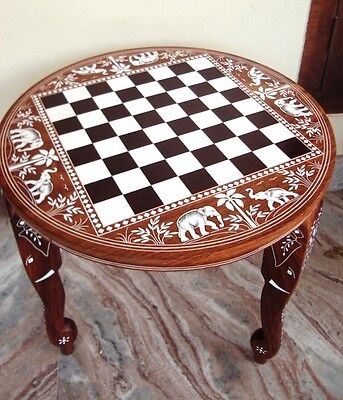 Wooden Chess Board Inlaid Carved Work Coffee Round Table Foldable Vintage Look Ebay