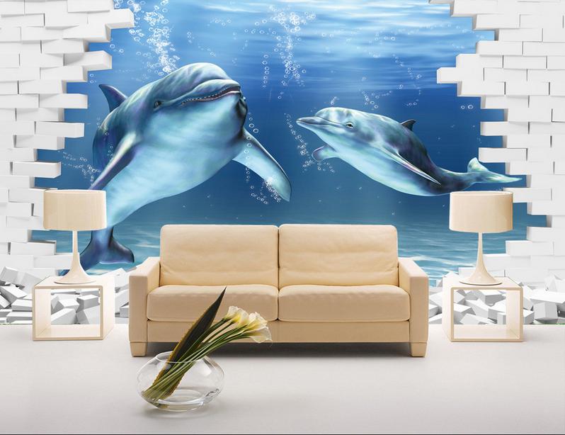 Papel Pintado Mural Vellón Delfines De Ladrillo Weiß 12 Paisaje Fondo PanGröße