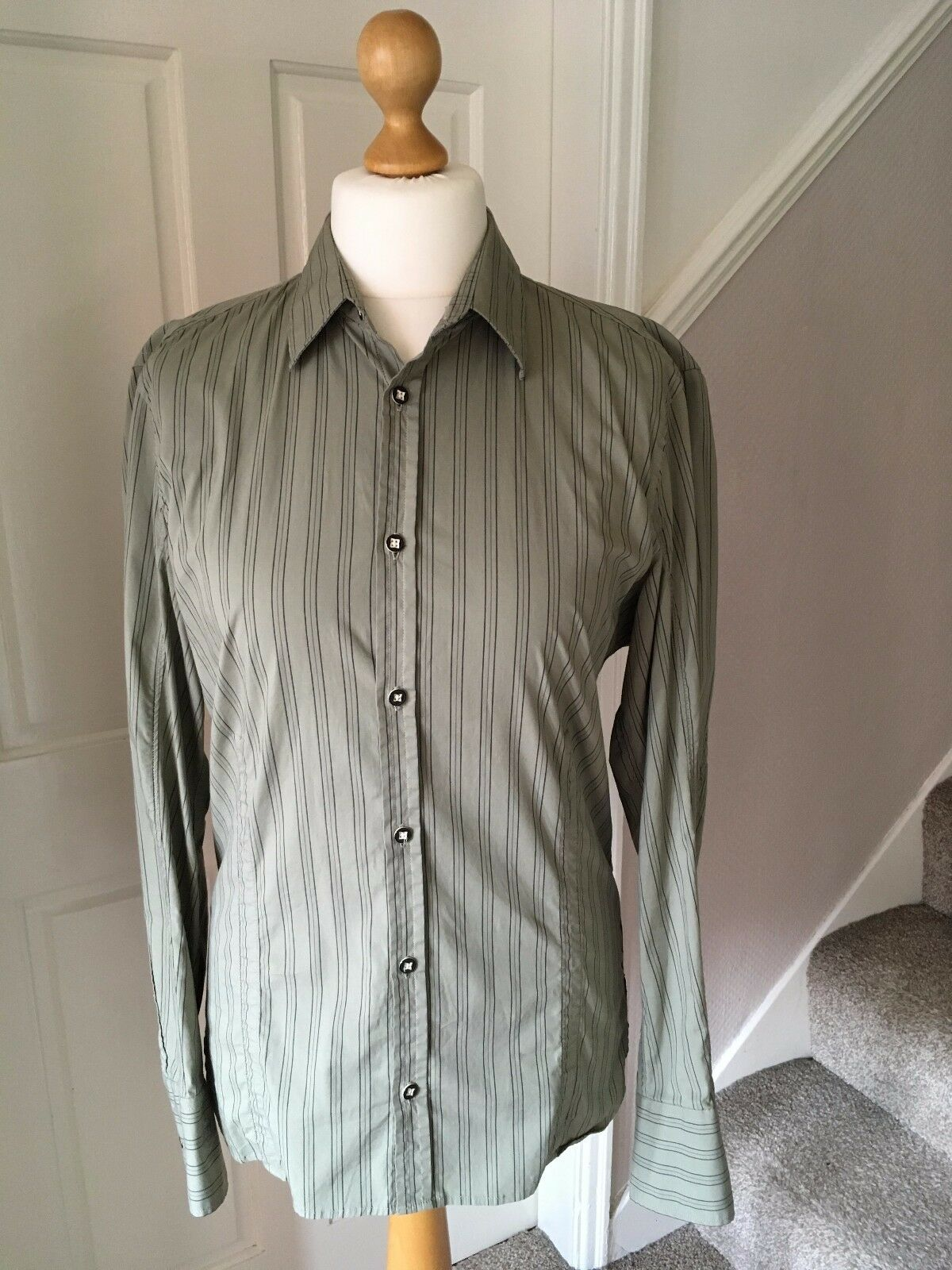Mens Diesel cotton green striped long sleeve fitted casual shirt Large 44  chest
