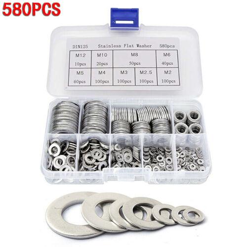 580PCS//box Flat Metal Washers Gasket Set Fastener M2-M12 Supplies High Quality