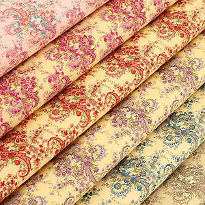 Cotton-Fabric-FQ-Paisley-Rose-Floral-Bouquet-Retro-Dress-Quilting-Material-VK94