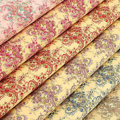 Cotton Fabric by FQ Vintage Paisley & Rose Flower Bouquet Retro Dress Quilt VK94