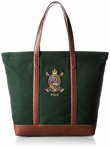9848edb02d9 Polo Ralph Lauren Hunter Green Elevated Canvas Tote + Brown leather ...