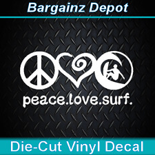 Vinyl Decal ...PEACE LOVE SURF... Nice Size Car Laptop Sticker Decal
