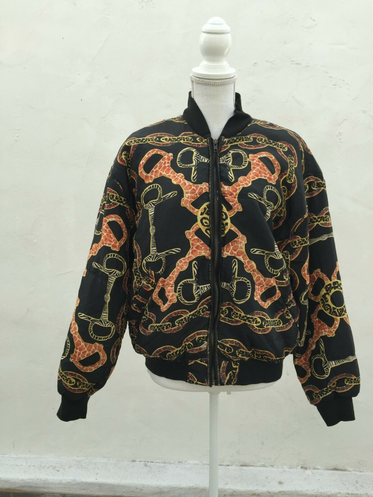 SALE Price Cut Baroque SIlk Chain Link Print Print Print Bomber Size Medium fda4db
