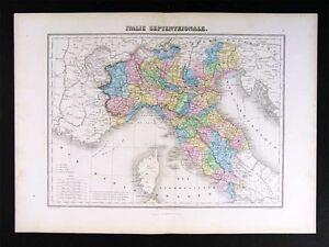 1877-Migeon-Map-N-Italy-Italia-Rome-Milan-Venice