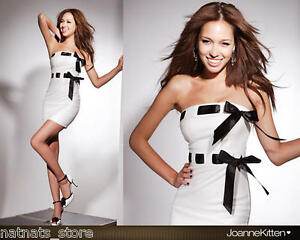 White-Bodycon-Mini-Evening-Cocktail-Party-Dress-with-Two-Black-Ribbons-T-0002