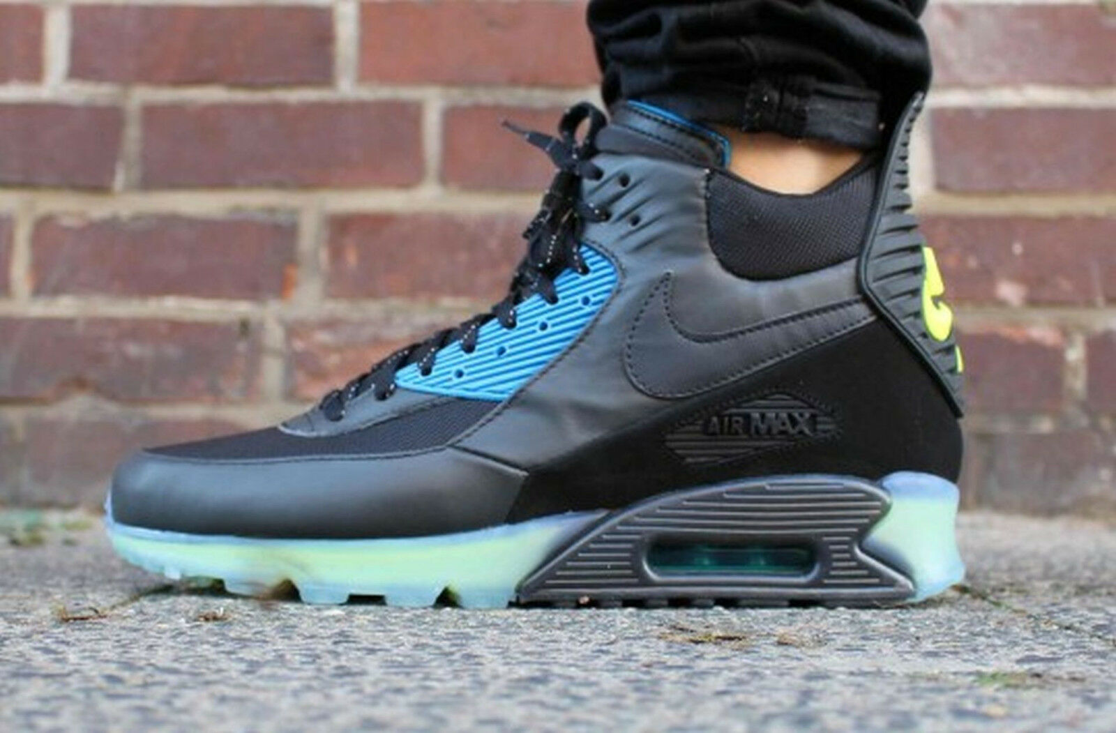 NIKE AIR MAX 90 SNEAKERBOOT ICE 684722-001 SZ 7.5 BLACK ASH PHOTO BLUE NEON VOLT
