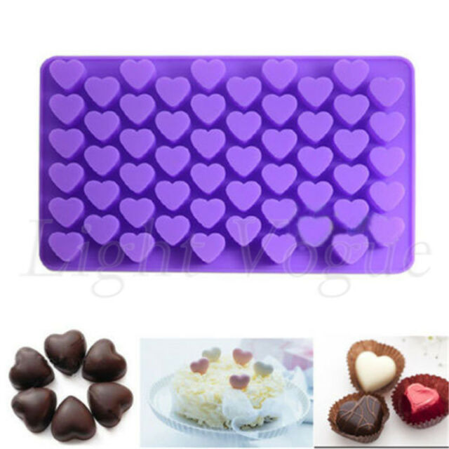 1PC Mini 55 Heart Silicone Mold For Candy Chocolate Cake Soap Mould Baking 022