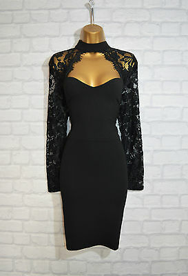 ~AMYA~ Black Lace Bodycon Evening Mini Pencil Wiggle Party Dress Size 10 £75