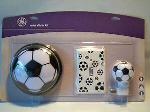Image Is Loading Ge Soccer Ball Room Decor Kit Nightlight Wall