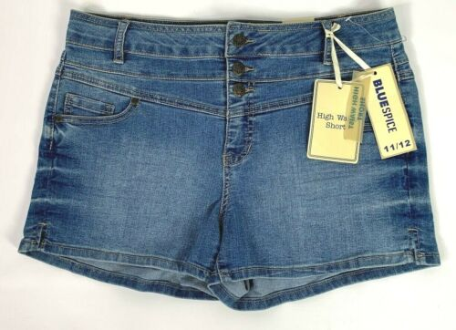 Blue Spice Women/'s Juniors High Waist Jean Shorts Medium Wash Denim NWT