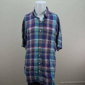Peter-Millar-Purple-Blue-Short-Sleeve-Button-Front-Linen-Plaid-Shirt-Mens-XL