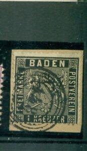 Baden-Wappen-im-Quadrat-Nr-9-gestempelt-Nr-148-auf-Briefstueck
