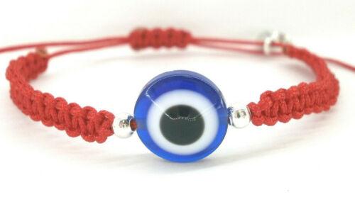 "Pulsera /""Abril/"" charm ojo turco en color azul con hilo rojo"