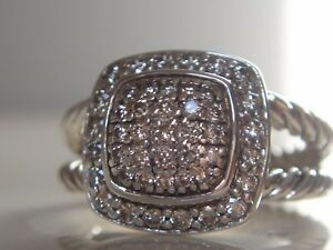 $1200 David Yurman Petite Albion Sterling Pave Diamond Ring-afficher Le Titre D'origine Haute RéSilience