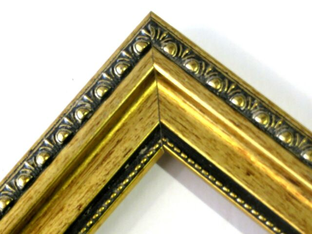 "1 3/8"" Gold Patina Ornate Solid Wood Picture Frame-Custom Standard Size"