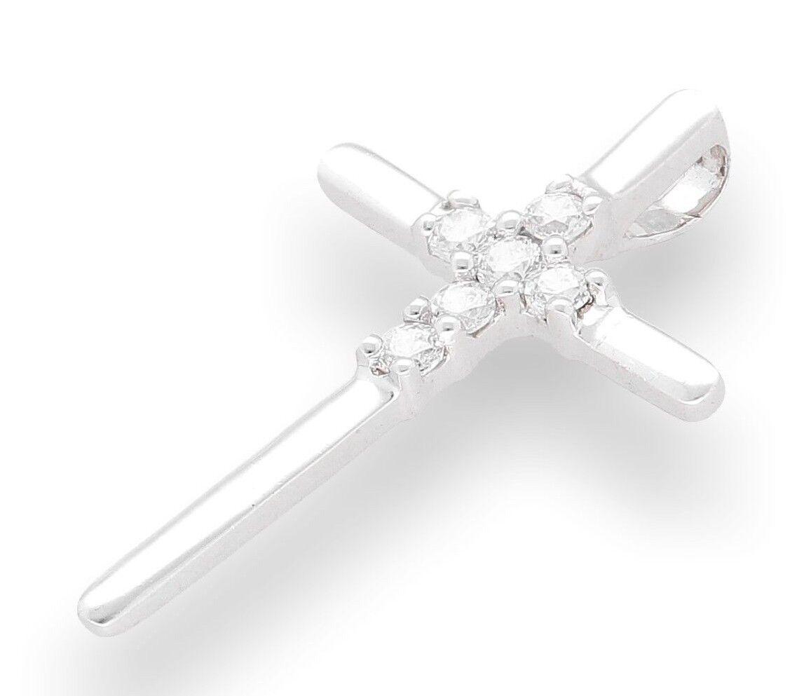 oro oro oro bianco 9 Carati Diamante Simulato Croce pendente a (18x28mm) 61ed41