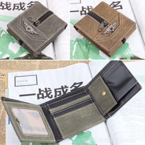 Fashion Boys Tri-fold Zipper Coin Card Wallet Gift Men