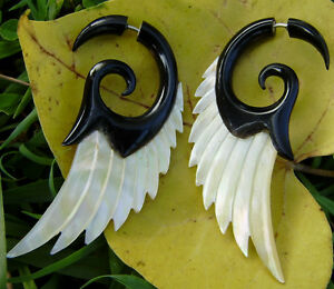 Fake Gauge Earrings ,Tribal Style, Mother of pearl Shell Angel Wing horn