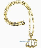 Allah Iced Out Pendant Necklace 24 Inch Figaro Style Chain Fashion Religous