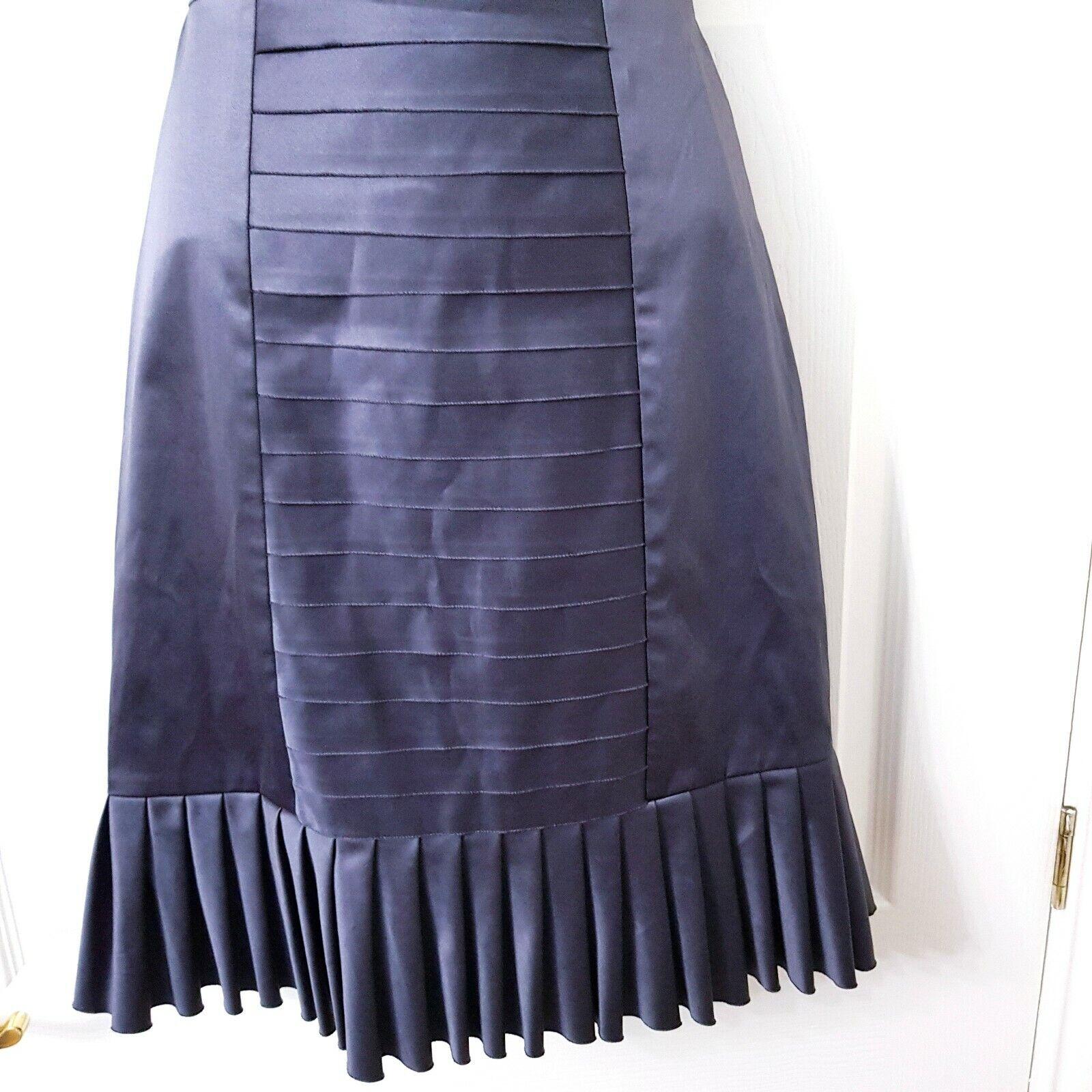 New BCBG Womens Grey Pleated Skirt Twofer Midi Dress Pencil Pencil Pencil Satin S BNWT ba30d0