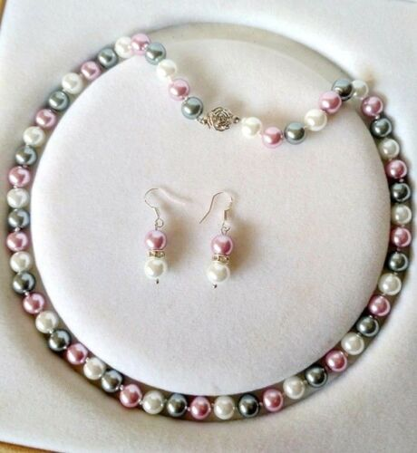 """16-48/"""" 8 mm multicolore South Sea Shell Pearl PERLES rondes Collier Boucles d/'oreilles Set"""