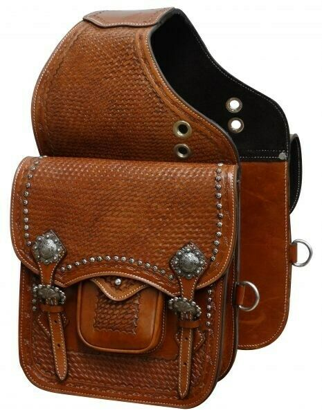 Showman Basket Weave Tooled Leather Saddle Bag w  Brushed Nickel Conchos  NEW
