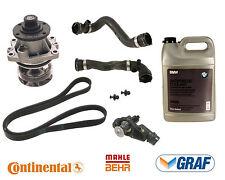 BMW E46 Cooling System Kit Water Pump Thermostat Hoses Belt Antifreeze Gallon