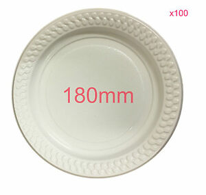 100x Party White Plastic Dinner Plates 180mm Picnic Disposable Plate ...