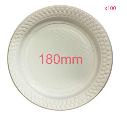 100x Party White Plastic Dinner Plates 180mm Picnic Disposable Plate BULK Party  sc 1 st  eBay & 100x Party White Plastic Dinner Plates 180mm Picnic Disposable Plate ...