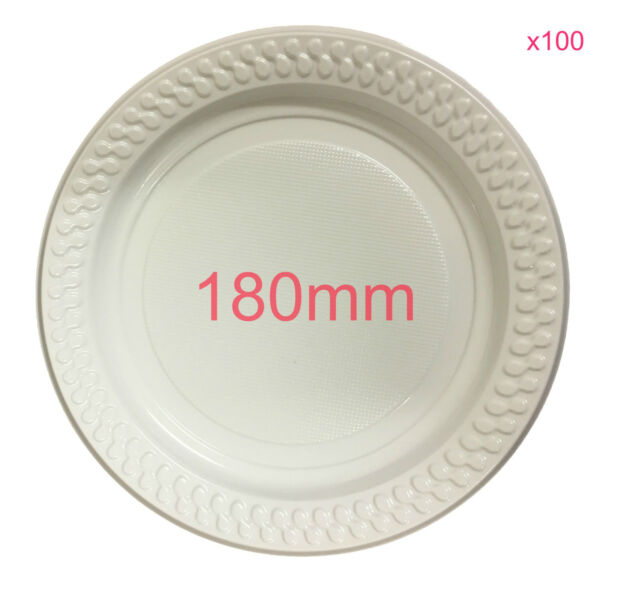 100x Party White Plastic Dinner Plates 180mm Picnic Disposable Plate