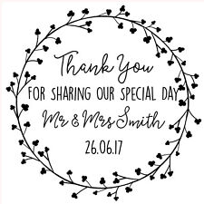 Personalised Laser Rubber Stamp - Wedding Thank You: Dainty Flowers