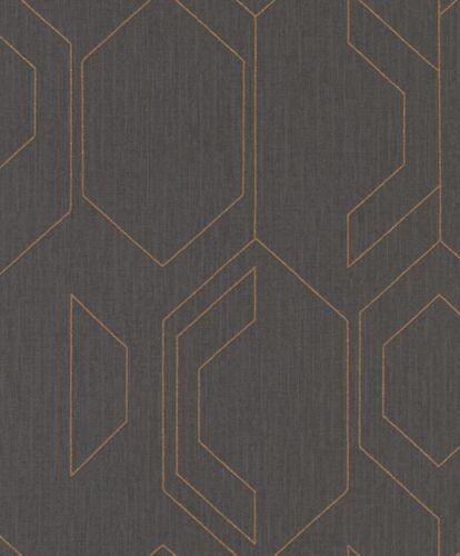 Rasch Tapete Cato 800807 Ornament grafisch grau gold schwarz Vliestapete Vlies