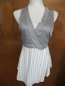 Anthropologie-Maeve-Women-s-Soft-Cotton-Stripes-Gray-White-Tunic-Top-Size-12