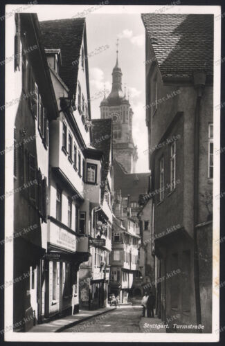 Foto-AK-Stuttgart-Turmstraße-Gaststube-Turmstüble-Rathaus-30er Jahre