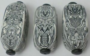 3 Hand Crafted Rectangle Black&White Polymer Clay Susan Pickle Pendant Bead 43mm