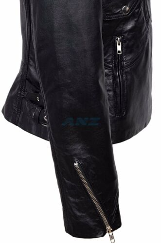 Clea Black Ladies Women Short Real Sheep Lambskin Soft Napa Leather Jacket