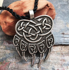 Antique Silver Plt Norse Bear Paw Claw Pendant Necklace Ladies Mens Gift Viking