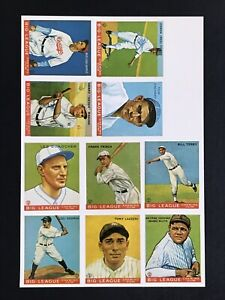 Details About Uncut Reprint Sheet 1933 Goudey Big League Cards Of Babe Ruth Lou Gehrig Etc