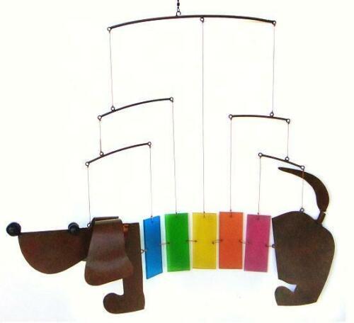 Rainbow Dachsie Metal /& Glass Mobile