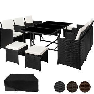 Detalles De Conjunto Muebles De Jardín Terraza Ratán Sintético 6 Sillas 4 Taburetes 1 Mesa