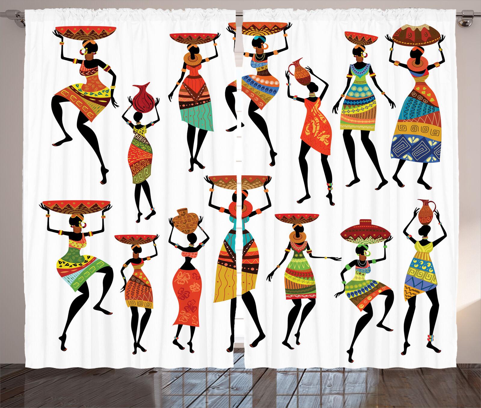 Set Cortinas 2 paneles tribal Figuras De Mujer Africana Decoración del hogar