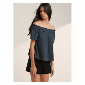 a4d2fe3bcd2ee5 Wilfred Aritzia blue off the shoulder linen top Size XS euc stretch ...
